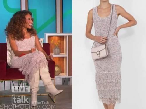 the talk, elaine welteroth, knit tiered fringe midi dress