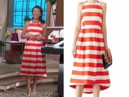 chi-lan lieu, the talk, striped midi dress
