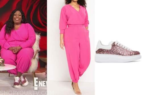 loni love, pink jumpsuit, pink glitter sneakers, e! news, daily pop