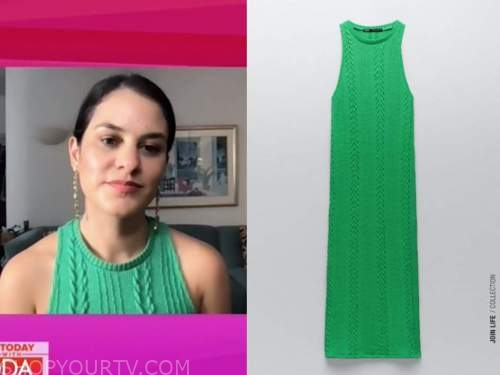 donna farizan, the today show, green cable knit dress