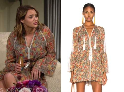 summer newman, hunter king, floral bell sleeve dress, the young and the restless
