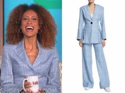 elaine welteroth, the talk, blue check blazer and pant suit