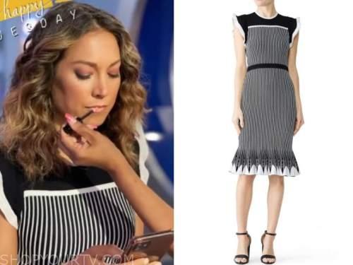 ginger zee, good morning america, black and white striped knit dress