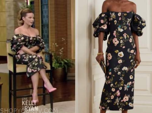 kate beckinsale, live with kelly and ryan, black floral off-the-shoulder dress