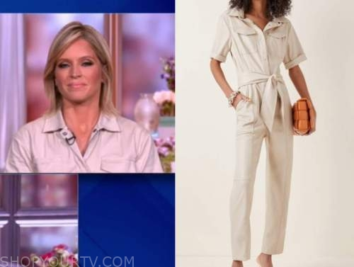 Sara haines, the view, grey leather jumpsuit