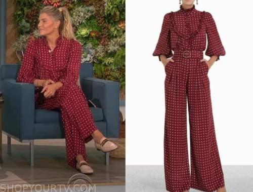 Amanda kloots, the talk, burgundy polka dot blouse and pants