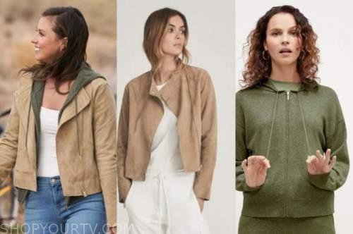 Katie Thurston, the bachelorette, tan suede jacket, green hoodie