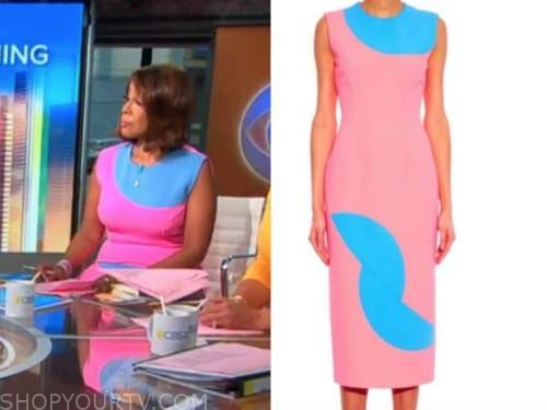 Gayle King, cbs this morning, pink and blue colorblock sheath dress