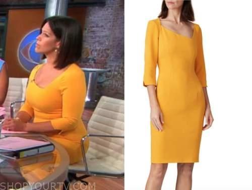 dana jacobson, cbs this morning, yellow orange sheath dress