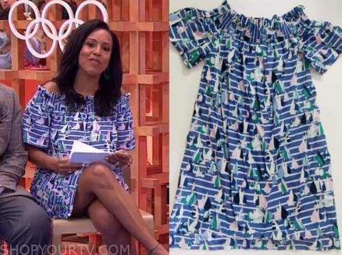 sheinelle jones, the today show, sailboat off-the-shoulder dress