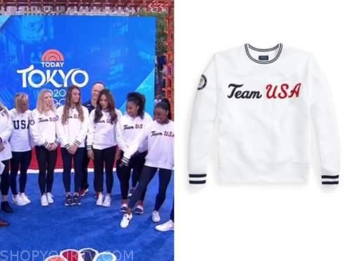 team usa gymnastics olympic team, white sweatshirts, the today show