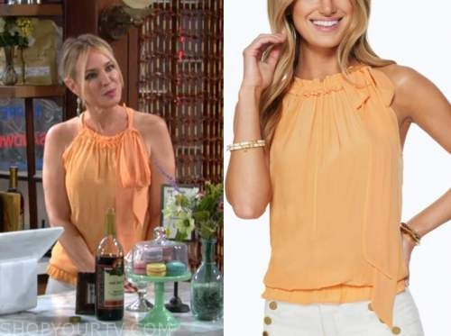 Sharon Newman, Sharon case, the young and the restless, orange top
