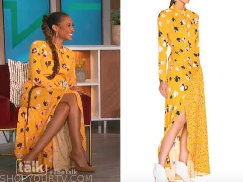 Elaine welteroth, the talk, yellow floral twist neck dress