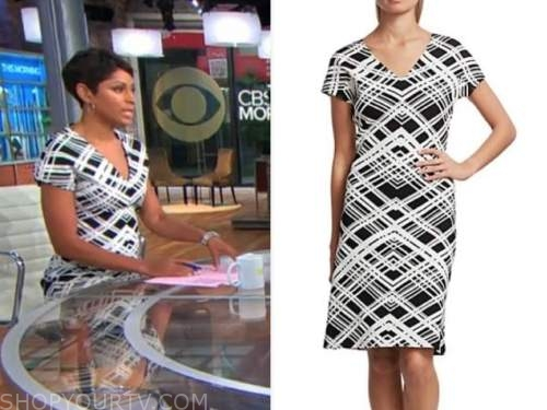 jericka duncan, cbs this morning, black and white plaid dress
