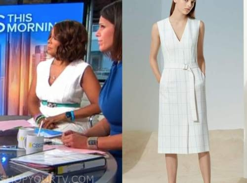 Gayle king, cbs this morning, white grid dress