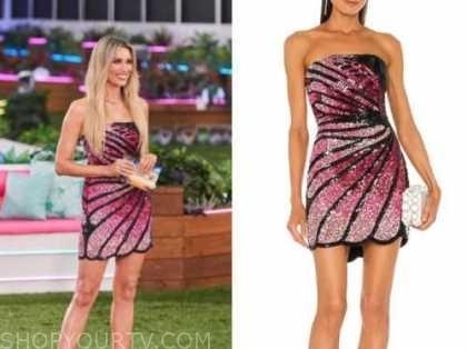 Arielle vandenberg, love island usa, black and pink butterfly dress