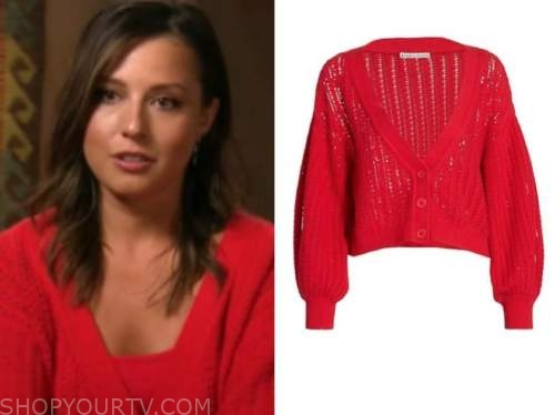 Katie Thurston, the bachelorette, red cardigan sweater