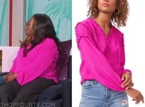 Sheryl underwood, the talk, pink ruffle top
