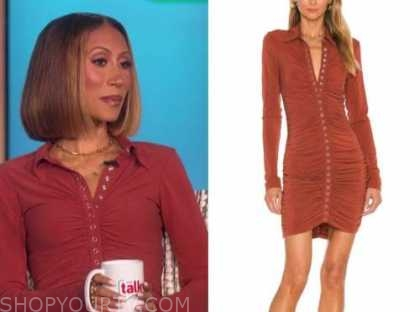 the talk, Elaine welteroth, rust button ruched dress