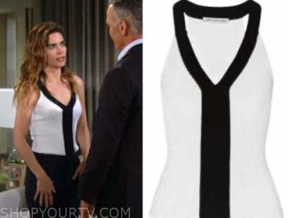 Victoria Newman, Amelia heinle, the young and the restless, black and white knit top
