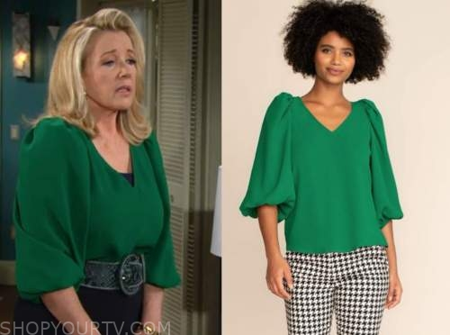 Nikki newman, melody Thomas Scott, green blouse, the young and the restless