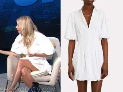 Morgan stewart mcgraw, white puff sleeve shirt dress, E! news, daily pop