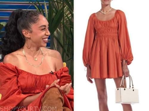 shad boodram, E! news, daily pop, rust orange dress