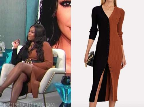 garcelle Beauvais, E! news, daily pop, black and brown colorblock sweater dress