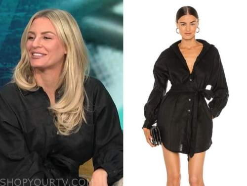 Morgan Stewart mcgraw, E! news, daily pop, black linen shirt dress