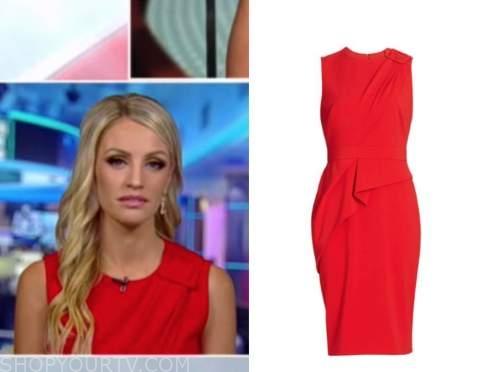 Carley Shimkus, fox and friends, red buckle sheath dress
