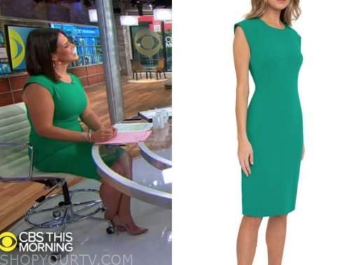 dana jacobson, cbs this morning, green sheath dress