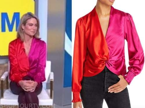 Amy Robach, good morning America, red and pink colorblock top