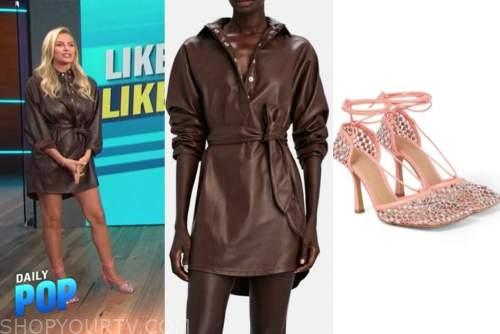 Morgan Stewart, e! news, daily pop, brown leather shirtdress