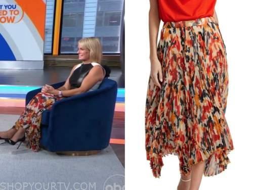 dr. Jennifer Ashton, gma3, orange pleated printed skirt