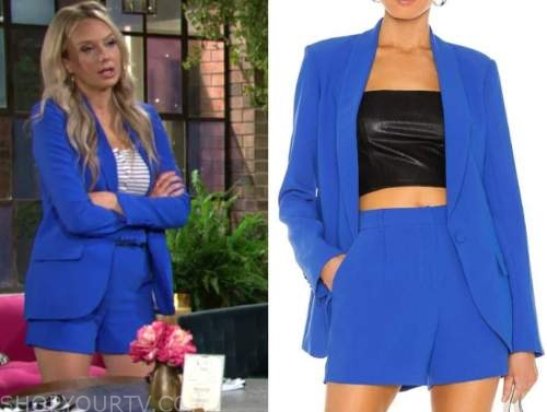 abby newman, melissa ordway, the young and the restless, blue blazer and shorts