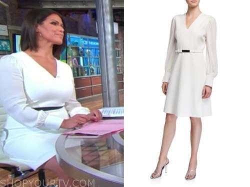 dana jacobson, cbs this morning, white v-neck dress