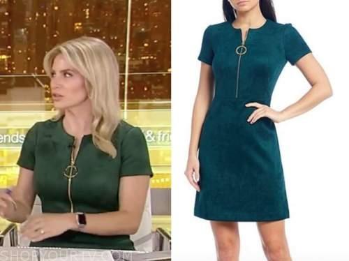 Ashley strohmier, fox and friends, green suede zipper dress