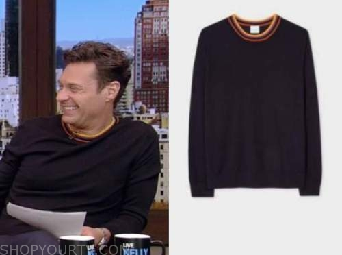 Ryan Seacrest, live with Kelly and Ryan, navy blue contrast trim sweater