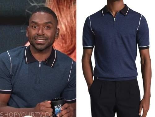 Justin Sylvester, E! news, daily pop, navy blue polo shirt