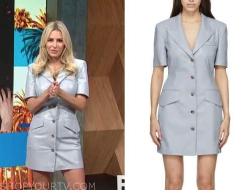 Morgan Stewart mcgraw, E! news, daily pop, blue leather shirt dress