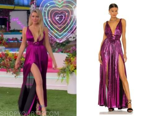 Arielle vandenberg, purple metallic gown dress, love island usa season finale