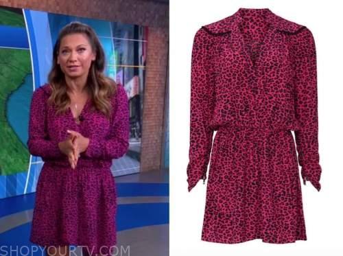 Ginger Zee, good morning America, pink leopard dress