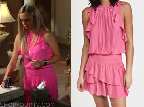 Abby Newman, Melissa ordway, the young and the restless, hot pink ruffle dress