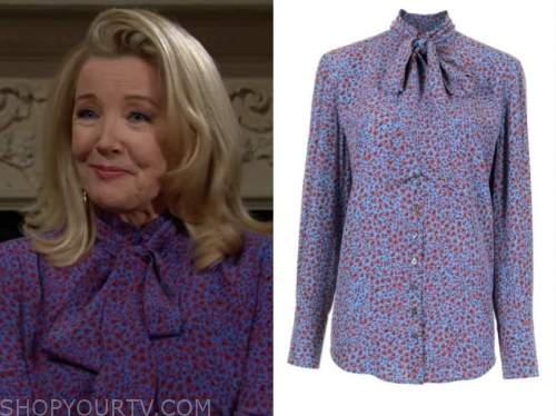 Nikki newman, melody Thomas Scott, purple floral tie neck blouse, the young and the restless