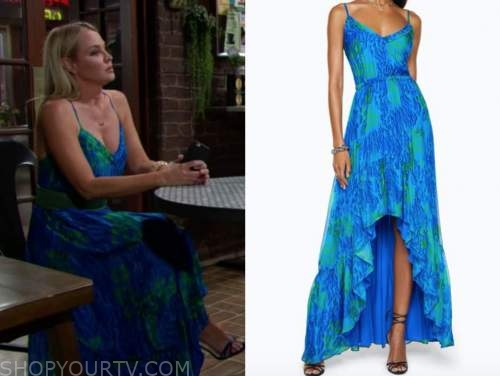 sharon newman, Sharon case, the young and the restless, blue and green printed maxi dress