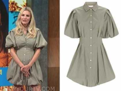 Morgan Stewart, E! news, daily pop, green puff sleeve shirt dress