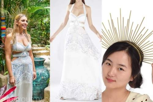 Victoria Larson, bachelor in paradise, white lace dress, gold spike headband
