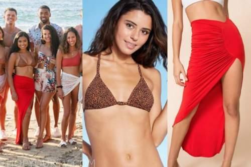 Jessenia Cruz, bachelor in paradise, leopard top, red skirt