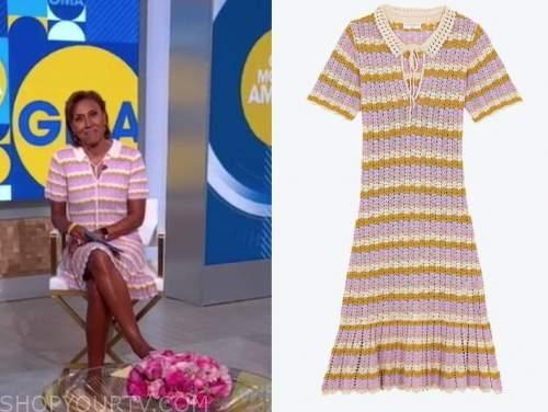 robin Roberts, good morning America, striped knit polo dress
