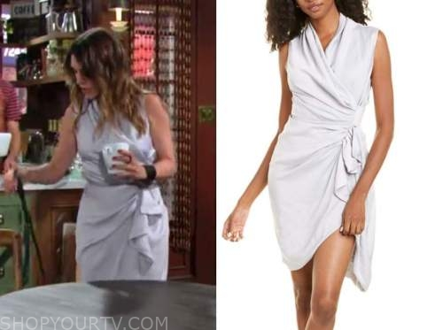 Elizabeth Hendrickson, Chloe Mitchell, the young and the restless, silver wrap dress